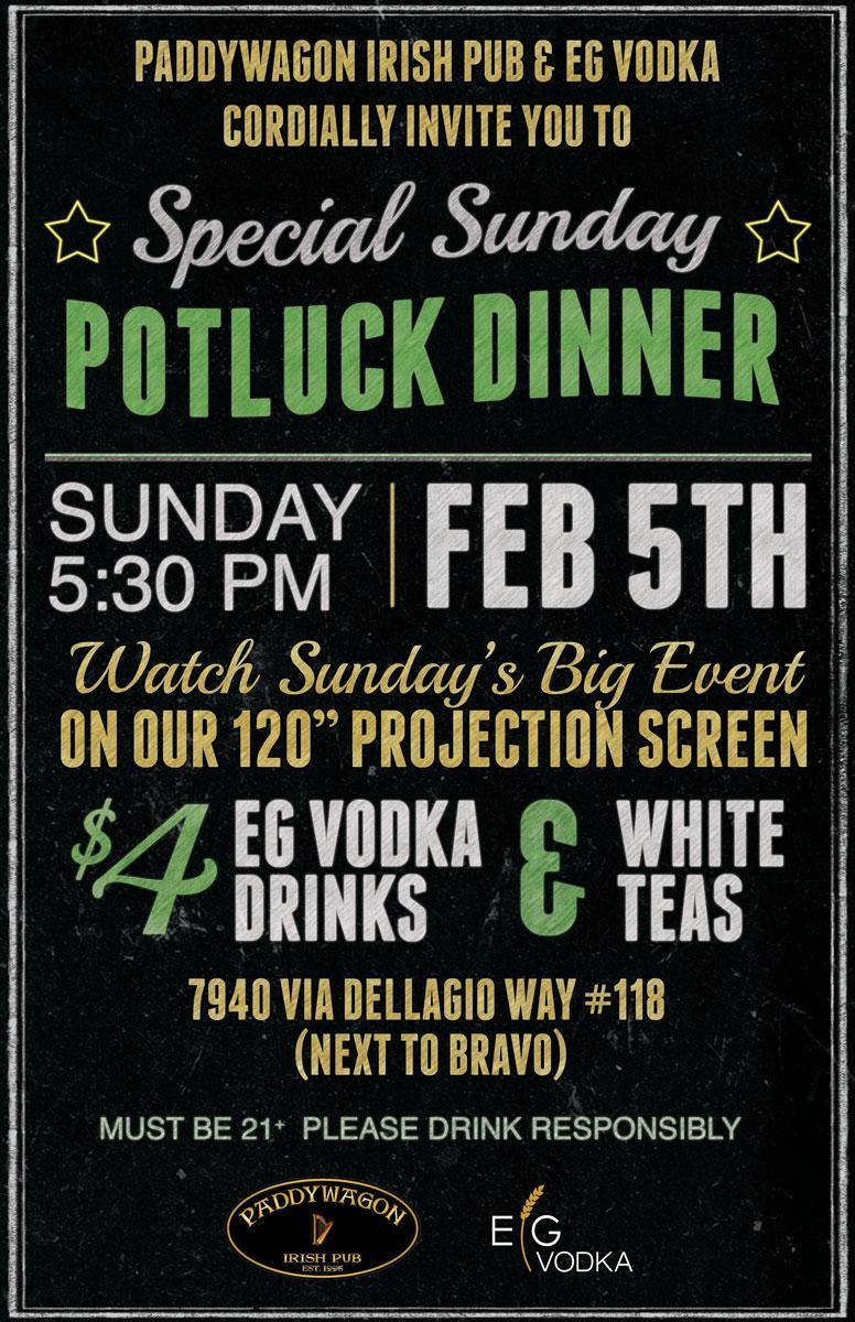 Special Sunday Potluck Dinner at Paddywagon's Irish Pub Image